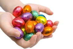 Easter Eggs in Hands Royalty Free Stock Images