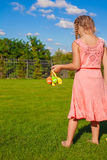 Easter eggs in the hands of a little adorable girl Royalty Free Stock Image