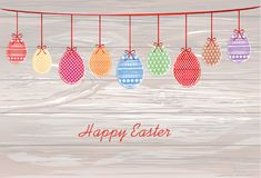 Easter eggs hang on a ribbon with bows. Greeting card or invitat. Ion for a holiday. Free space for text. Vector on wooden background stock illustration