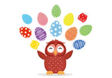 Easter eggs hang on ribbons. Lovely owls are sitting on a tree. Branch. Greeting card or invitation for a holiday. Vector stock illustration