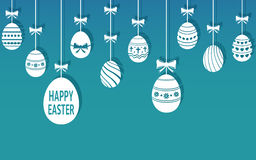 Easter eggs are hanging on the blue background. Vector illustration stock illustration