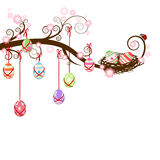 Easter eggs hanging on a branch Royalty Free Stock Image
