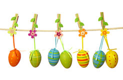 Easter eggs hanging on the clothesline Royalty Free Stock Photos