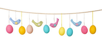 Easter eggs hanging on the clothesline Royalty Free Stock Photo
