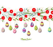Easter eggs hanging on the florals Stock Images