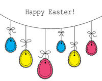 Easter eggs hanging on a rope Stock Photo