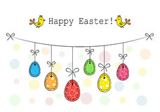 Easter eggs hanging on a rope Royalty Free Stock Images