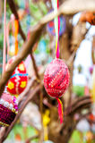 Easter eggs hanging from a tree. Ukrainian pysanky eggs with traditional design on them hanging from a tree Royalty Free Stock Photos