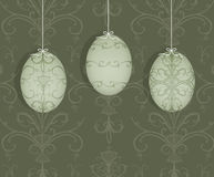 Easter Eggs Hanging on a White Ribbon Royalty Free Stock Photo