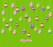 Easter eggs hanging on the wire Royalty Free Stock Images