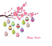 Easter eggs hanging the wire on the tree Royalty Free Stock Photo
