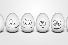 Happy easter eggs. Easter eggs with happy faces Stock Photo