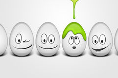 Happy easter eggs. Easter eggs with happy faces and dripping paint Royalty Free Stock Image