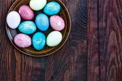 Easter eggs. Easter. Happy Easter free space for text. top view. Easter. Easter eggs. Happy Easter free space for text. top view Stock Images