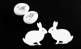 Easter eggs and hares. royalty free stock images