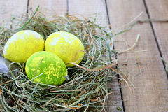 Easter eggs in the hay Royalty Free Stock Photography