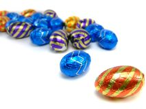 Easter Eggs  Header. A close-up of differend chocolate easter eggs in colorful wrapping. Can for example be used as header Royalty Free Stock Images