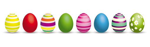 8 Easter Eggs Header. 8 colored easter eggs on the white royalty free illustration