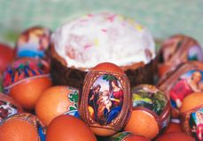 Easter eggs. Heap  decorated easter eggs of close up Royalty Free Stock Photos