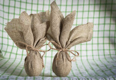 Easter eggs. Hemp fabric whit bacground Stock Images