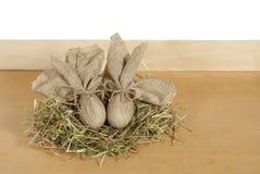 Easter eggs. Hemp fabric whit bacground Royalty Free Stock Photo