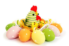 Easter eggs and hen Royalty Free Stock Photography
