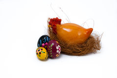 Easter eggs and hen on nest Stock Photo