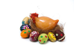 Easter eggs and hen on nest Royalty Free Stock Image