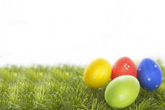 Easter eggs hiding in the grass Royalty Free Stock Images
