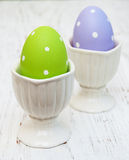 Easter eggs in a holders Stock Images