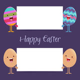 Easter Eggs Holding a Blank SIgn Board Stock Photo