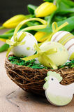 Easter eggs in holiday setting Stock Photography