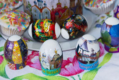 Easter eggs on the holiday table Royalty Free Stock Photography
