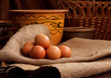 Easter eggs in home Stock Images