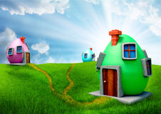 Easter Eggs houses royalty free stock image