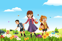 Easter eggs hunt. A vector illustration of kids celebrating Easter by going on an Easter egg hunt vector illustration