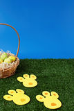 Easter eggs hunt with bunny tracks Stock Images