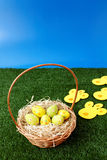 Easter eggs hunt with bunny tracks Royalty Free Stock Images