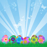 Easter Eggs Hunt with Colorful Floral Design. Sky Rays Grass Illustration Royalty Free Stock Photo