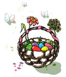 Easter eggs hunt. Colorful illustration with Easter eggs and spring flowers in basket on a backgroung with more eggs. Holiday design of postcard, invitation Stock Photo