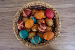 Easter composition with easter eggs in a basket on colour wooden background stock image