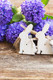 Easter eggs with hyacinth Stock Images