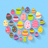 Easter eggs icon set on a blue Royalty Free Stock Photo