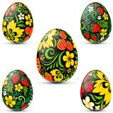 Easter eggs icon set in traditional russian style Royalty Free Stock Photography