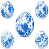 Easter eggs icon set in traditional russian style Stock Photo