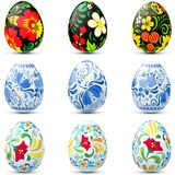Easter eggs icon set in traditional russian style. Easter eggs in traditional russian style Hohloma and Ghzel Royalty Free Stock Image