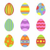 Easter eggs icons in flat style  on white background. Vector Illustration for Easter holidays design Royalty Free Stock Photos