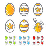 Easter Eggs Icons Scribble Royalty Free Stock Image
