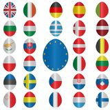 Easter eggs icons set. Eggs painted in colors of the European Union countries Stock Image