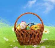Free Easter Eggs In Basket Stock Image - 8252291